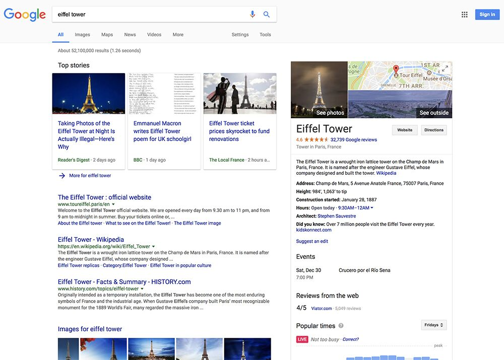"""Search in Google for """"Eiffel Tower""""."""