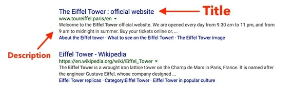 """Search for """"Eiffel Tower"""" with title and description."""