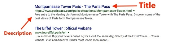 """Search for """"Tower in Paris"""" with title and description."""