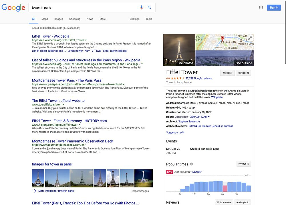 """Google Search for """"Tower in Paris""""."""