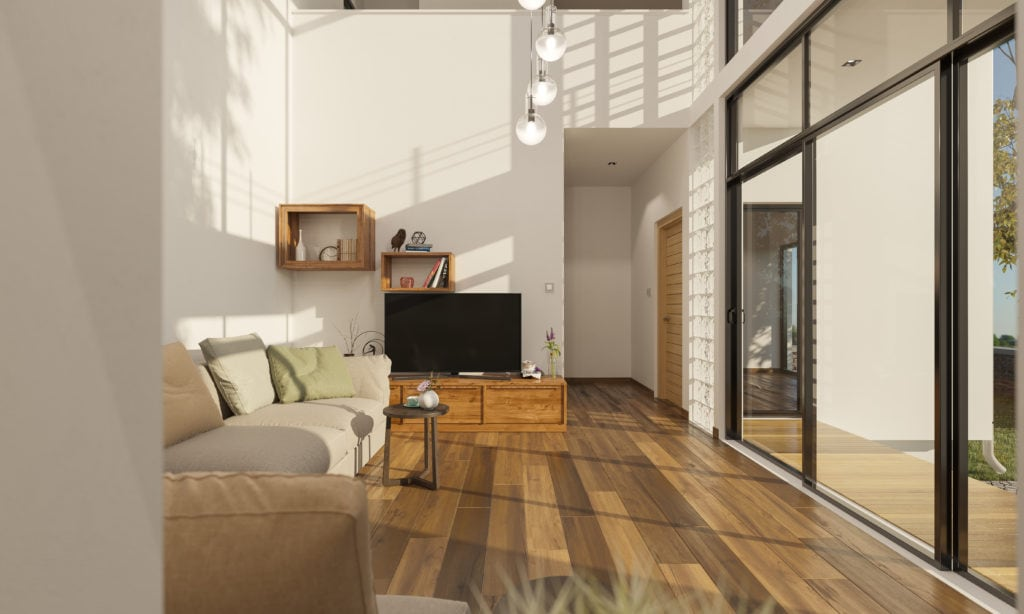 living room with bright windows.